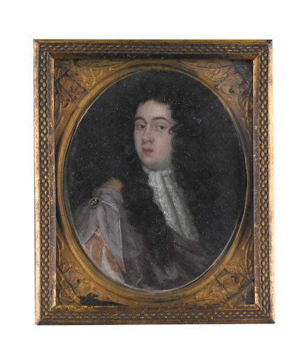 English School, circa 1700 A Gentleman, wearing gold coat, slashed at the sleeve to reveal white chemise, white lace cravat, mauve mantle fastened at his shoulder with a gold hardstone brooch, long brown wig