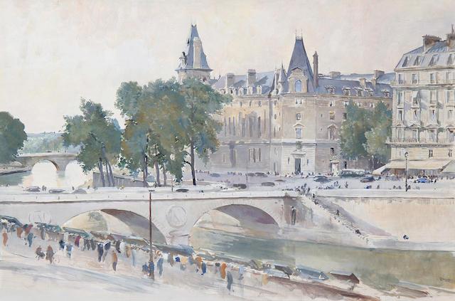 Charles Cundall R.A. (British, 1890-1971) Le Pont Saint Michel, Paris
