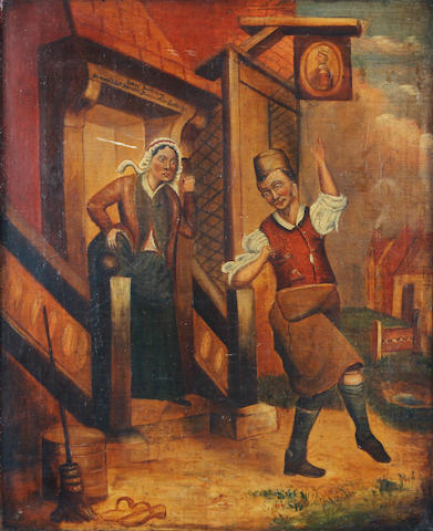 "A 19th Century oil painting depicting 'John Barleycorn' The figure at the door of a tavern beneath a pub sign, an angry landlady gesturing towards him, oil on canvas, unsigned, 37cm x 46cm, (14.5"" x 18""), unframed, (re-lined)"