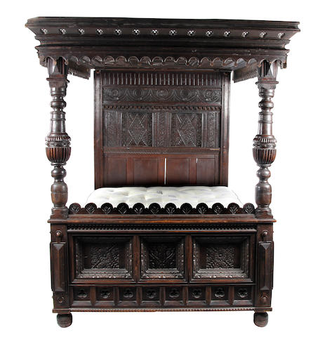 A Charles II and later oak tester bed  Yorkshire