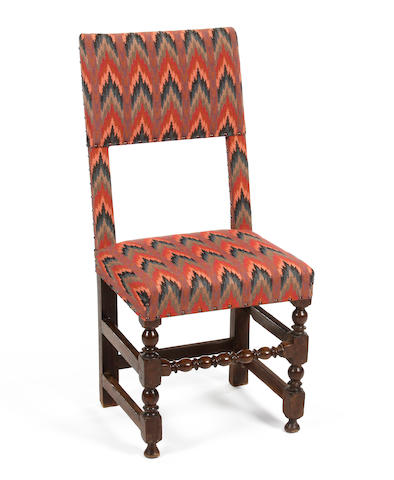 A Charles II oak and upholstered side chair