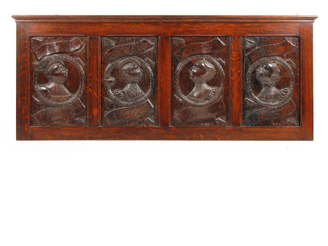 Local Interest: A superb set of four early Elizabethan carved oak 'Romayne' bust portrait panels Circa 1560, probably depicting members of the Stanley Family of Hooton Hall, Wirral