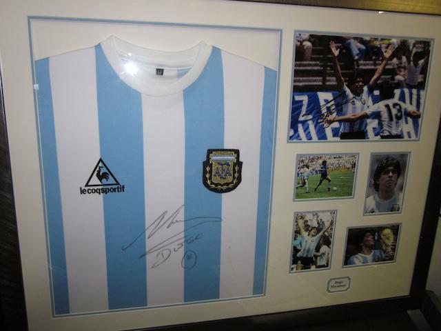 Diego Maradona hand signed Argentina replica shirt montage