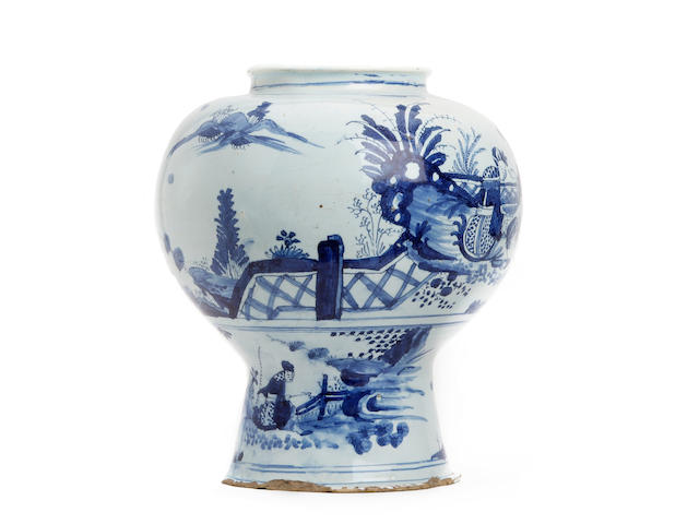 An English Delft ware baluster vase, circa 1670-90