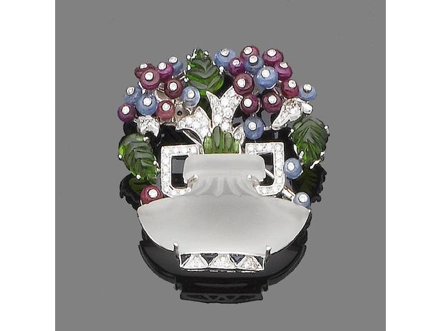 A multi gem-set giardinetto brooch