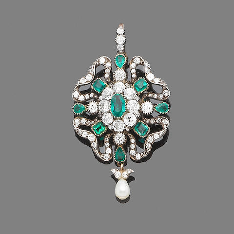 A late 19th century emerald and diamond brooch/pendant