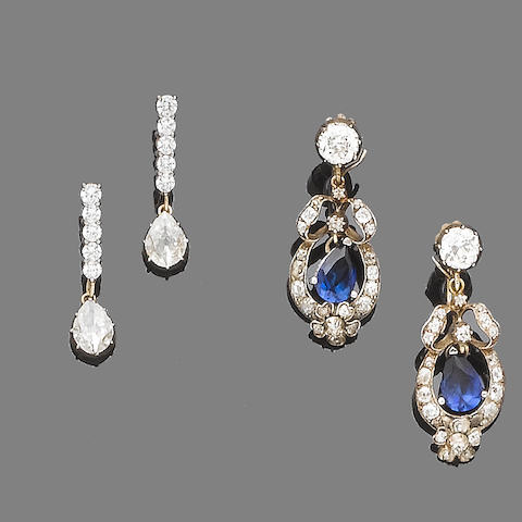 A pair of diamond pendent earrings and a pair of sapphire and diamond pendent earrings (36)