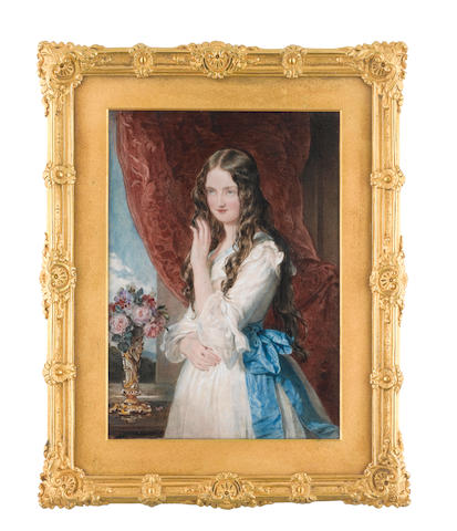 Sir William Charles Ross, RA (British, 1794-1860) Lady Augusta Margaret Fitzclarence (1822-1846), standing in an interior and wearing white dress with pale blue trim to her décollage and blue sash, her hair worn loose, she stands before a window with crimson drapes, and ornate gilt vase of pink roses on the windowsill