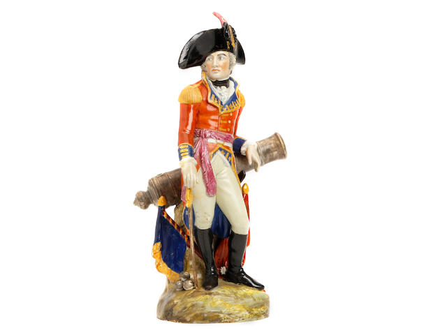 A pearlware figure of a general, possibly the Duke of Wellington