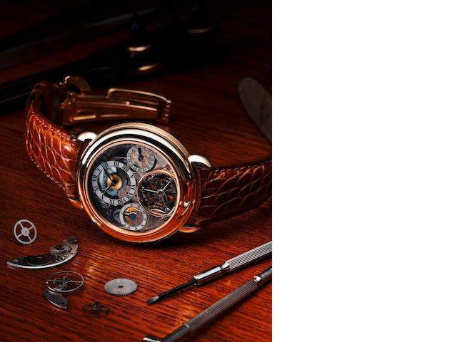 Audemars Piguet. A fine and rare 18ct gold skeletonized bumper automatic tourbillon wristwatch Tourbillon No. 79, Case no. D56708, Circa 1990s