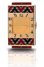 Cartier.  A very rare and fine 18ct gold manual wind rectangular purse watch with hidden dialCirca 1930s