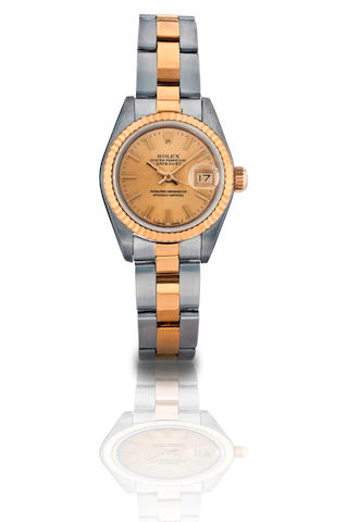 Rolex. A fine 18ct gold and stainless steel ladies wristwatch with date Date-Just, Ref: 69173, Case no. N104491, Circa 1991