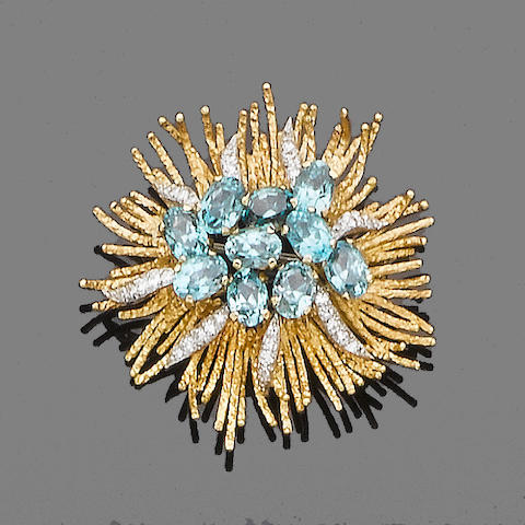A blue zircon, diamond and gold spray brooch, by Grima,