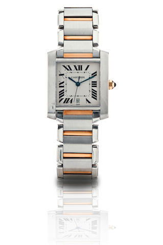 Cartier.  A fine stainless steel and gold automatic calendar rectangular wristwatch Tank, Ref. 2302, Case No. CC317408, Circa 2000s