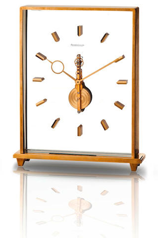 Jaeger LeCoultre. A fine brass skeletonized desk clock  Case no. 22330 355, Circa 1950s