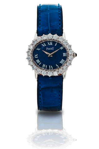 Piaget. A fine 18ct white gold diamond ladies manual wind wristwatch with lapis dial Ref: 9330 A 6, Case no. 177732, Circa 1970s