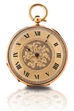Huguenin.  A fine 18ct gold open face pocket watch Case No. 4599, Circa late 19th century