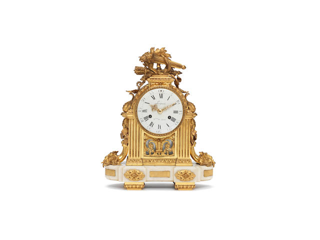 A late 18th century ormolu and white marble clock Lepaute, Horologer du Roi