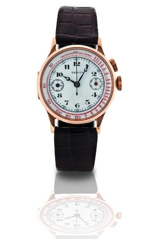 Zenith.  A fine 18ct gold manual wind single button chronograph wristwatch Case No. 8058378, Circa 1930s