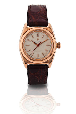 Rolex. A very fine 18ct gold automatic wristwatch BubbleBack, Ref 3131, Case No. 2912, Circa 1931