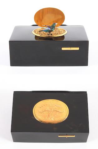 A tortoiseshell singing bird box, by Bontems, circa 1890,