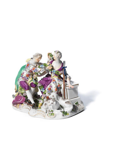 A Meissen group of two Shepherd lovers, circa 1762-65