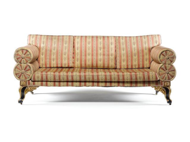 William IV lare sofa on carved feet