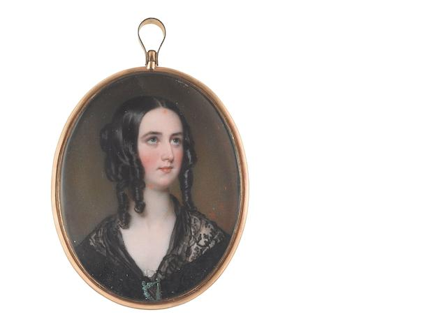 Sir William Charles Ross (British, 1794-1860) Isabella Brisbane (1821-1849), wearing black dress with black lace shawl held together at corsage with enamel harp  brooch, her hair worn in loose ringlets