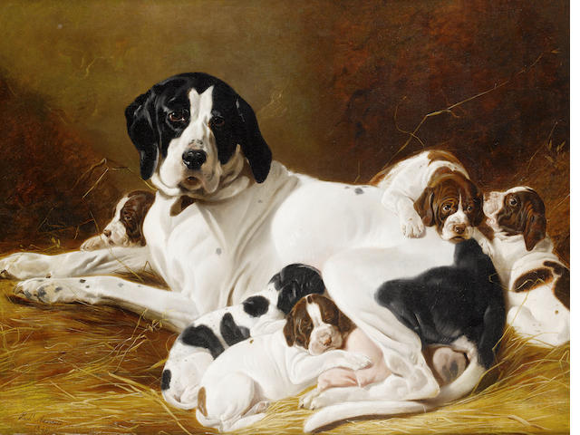 Richard Ansdell, RA (British, 1815-1885) The new litter