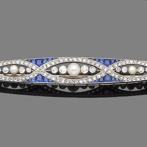 A sapphire, diamond and half-pearl brooch,