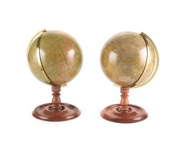 A pair of Malby's 8 1/2-inch terrestrial and celestial table globes English, published 1885 (2)