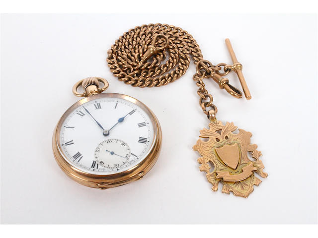 A 9 carat gold pocket watch and 9 carat gold Albert chain (2)