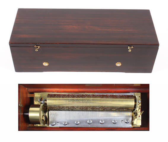 A key-wind musical box playing six airs, by F. Lecoultre, circa 1842,
