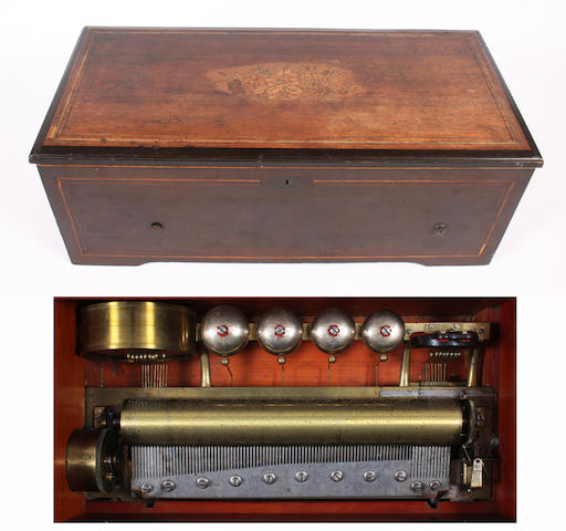 An eight air cylinder musical box by Samuel Woog, circa 1875,
