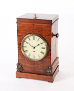 A Victorian mahogany cased night-watchman's timepiece,