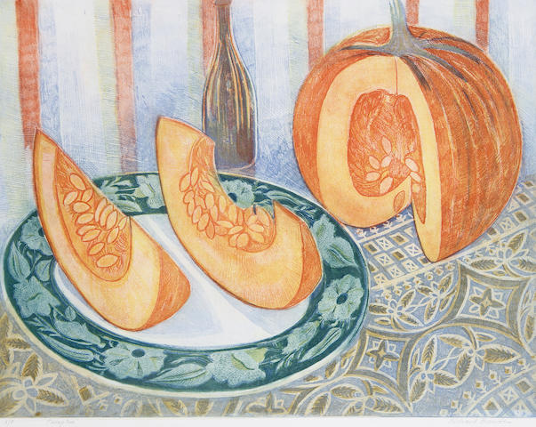 Richard Bawden (British, 1936) Pumpkin Etching with aquatint in colours, on wove, signed, titled and inscribed 'A/P' in pencil, a proof aside from the edition, with full margins, 550 x 650 mm (21 6/8 x 25 6/8 in) (PL)