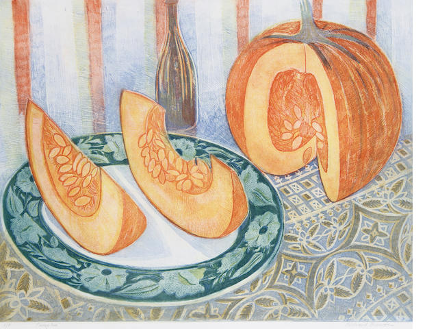 Richard Bawden (British, 1936) Pumpkin Etching and aquatint in colours, on wove, signed, titled and inscribed 'A/P' in pencil, a proof aside from the edition, with full margins, 550 x 650 mm (21 6/8 x 25 6/8 in) (PL)