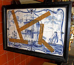 Two large 18th century delft tile panels of ships at sea, 52 x 78cm