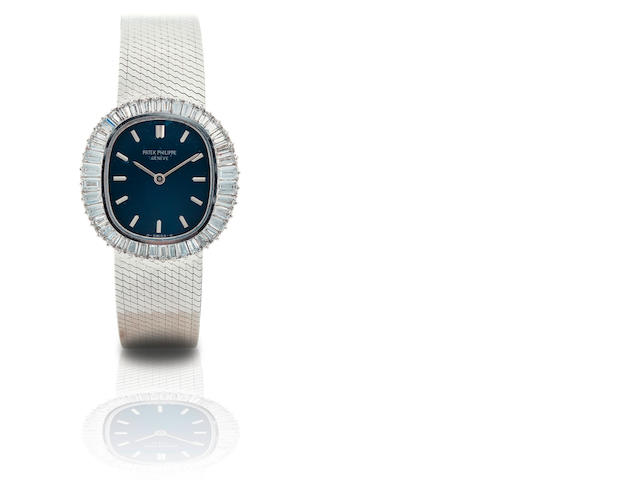 Patek Philippe. A fine 18ct white gold diamond manual wind ladies wristwatch Ref. 4138/1, Case no. 2754411, Circa 1976