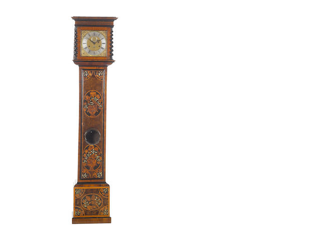 A late 17th century Dutch marquerty cased, London maker brass dial, 30day long case clock,