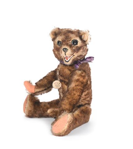 Brown tipped mohair 'Peter' Teddy bear, German circa 1925