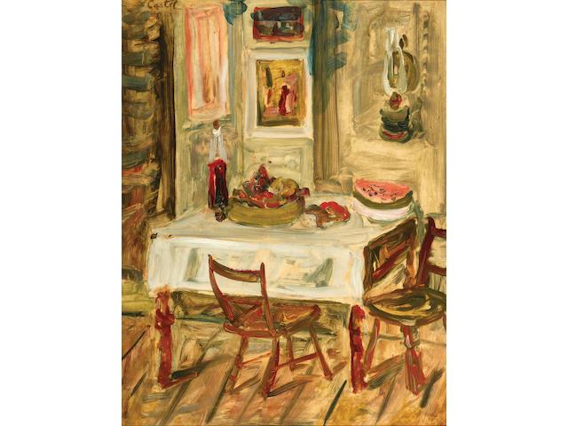 Moshe Castel (Israeli, 1909-1992), circa 1920 Interior with watermelon