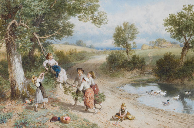 Myles Birket Foster, RWS (British 1825-1899) The Swing