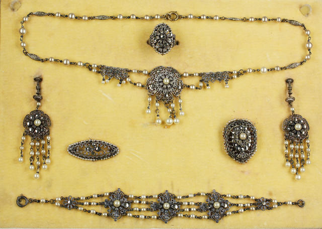 Three gold dress rings, marcasite suite and a collection of costume jewellery (a lot)