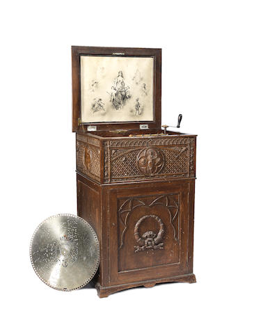 A good Regina 15.5/8-inch disc musical box-on-stand,