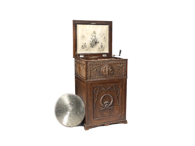 A good Regina 15.5/8-inch style 25D disc musical box-on-stand,
