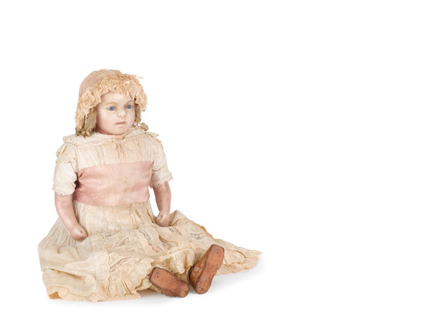 Large early wax over composition shoulder head doll, circa 1860