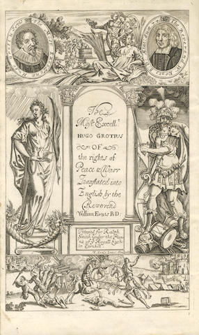 GROTIUS (HUGO) His Three Books Treating of the Rights of War & Peace... Translated into English by William Evats