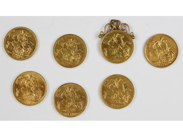 Seven sovereigns: Victoria, 1889 and 1896; Edward VII, 1905 and 1908; George V, 1911 and 1912 (x2).