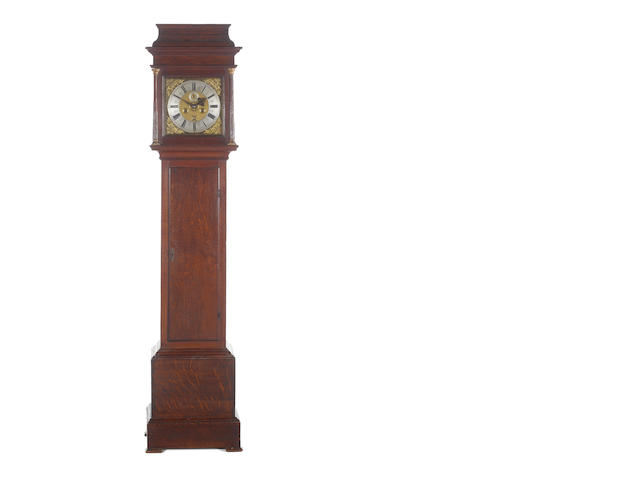 Oak longcase with Jonas Barber movement   2W, 1P, 1 key (10)